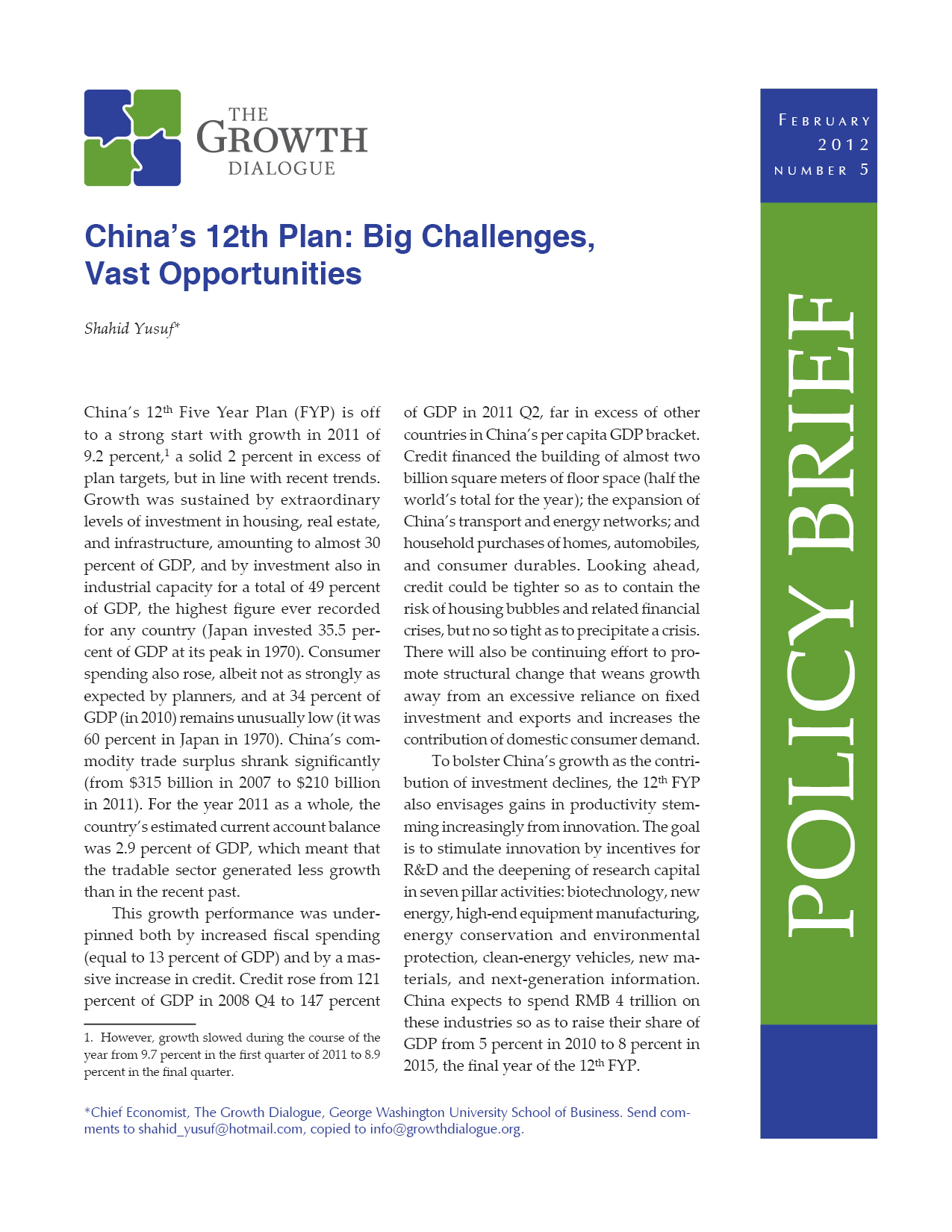 China's 12th Plan:  Big Challenges, Vast Opportunities