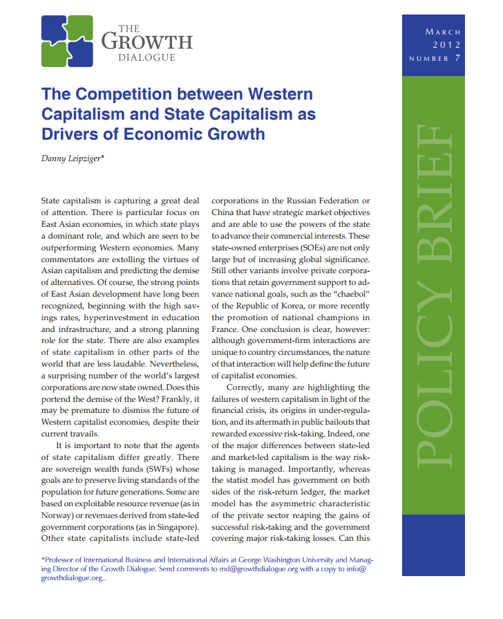 The Competition between Western Capitalism and State Capitalism as Drivers of Economic Growth