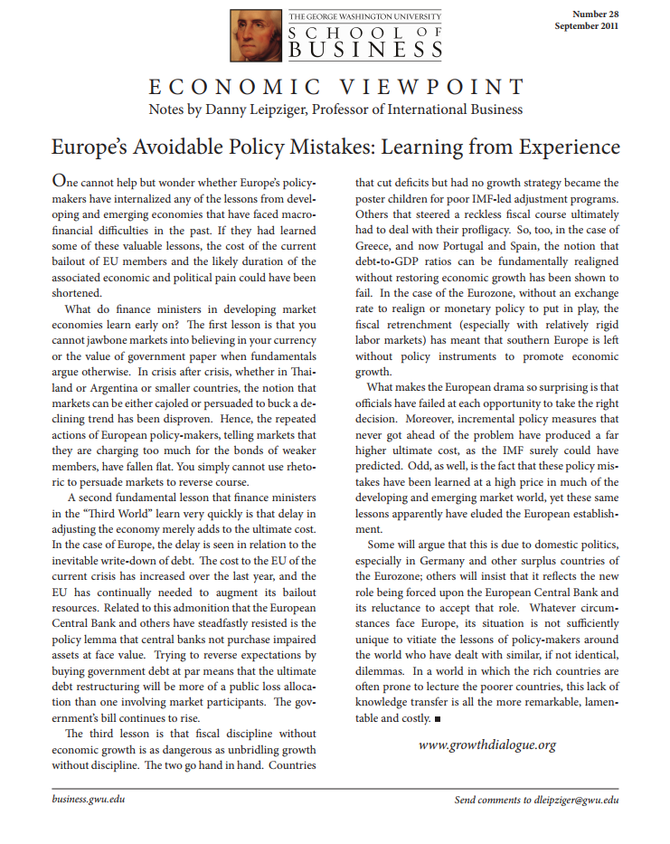 Europe's Avoidable Policy Mistakes:  Learning from Experience