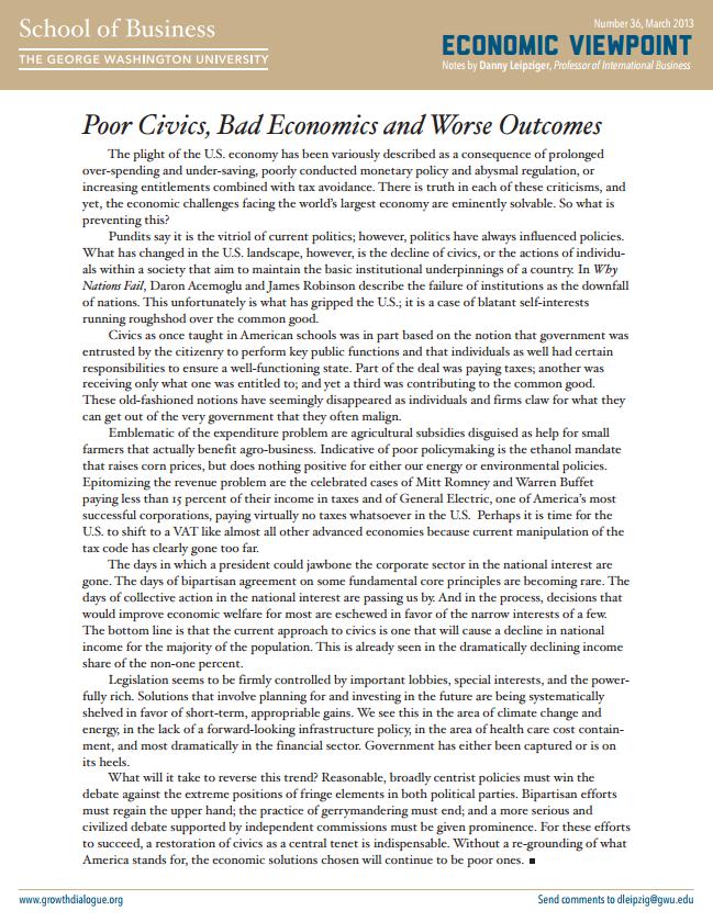 Poor Civics, Bad Economics and Worse Outcomes
