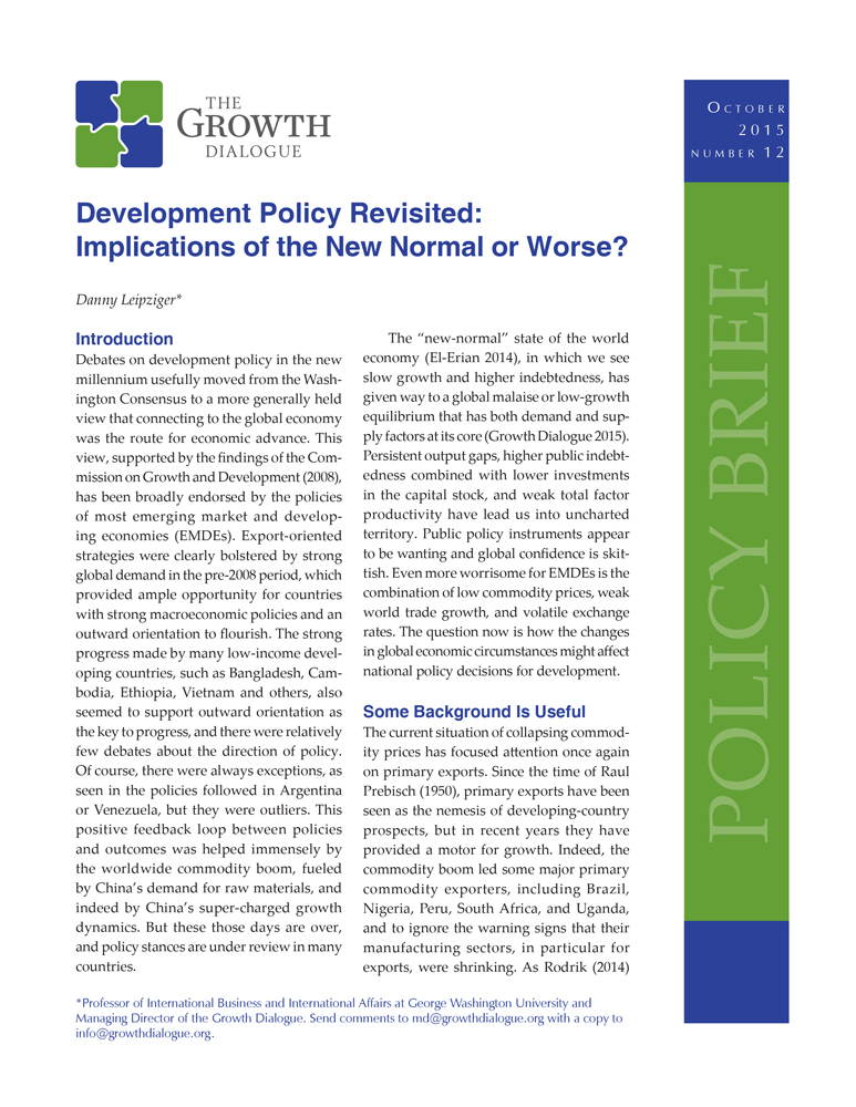 Development Policy Revisited: Implications of the New Normal or Worse?