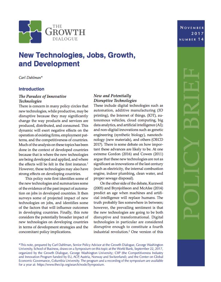 New Technologies, Jobs, Growth, and Development